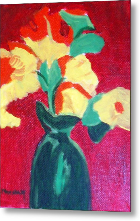 Vase Flowers Metal Print featuring the painting Green Vase With Flowers by Lia Marsman
