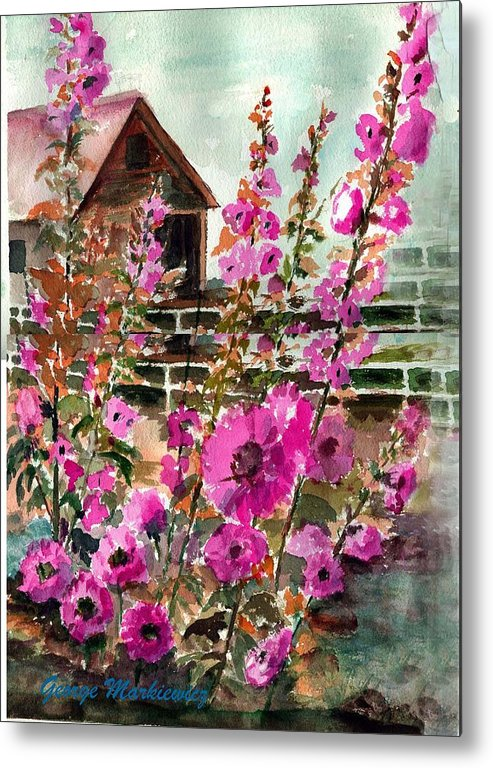 Hollyhocks And Bard Metal Print featuring the print Hollyhocks And Barn by George Markiewicz