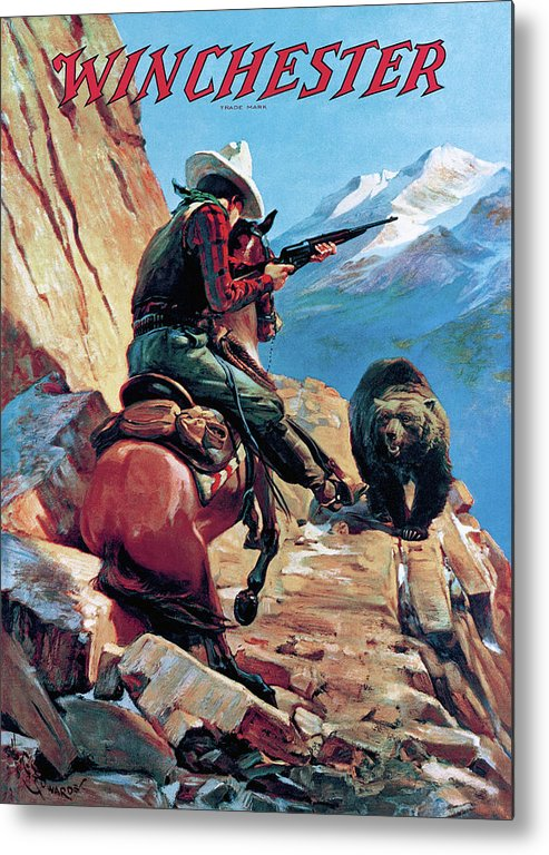 Cowboy Metal Print featuring the painting Horseman And Bear by H G Edwards