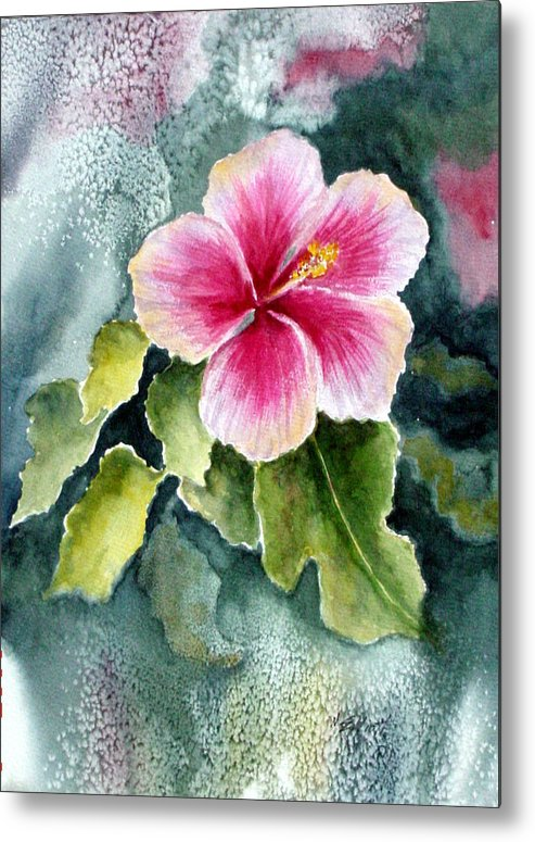 Hibiscus Metal Print featuring the painting Pink Hibiscus by Marsha Elliott