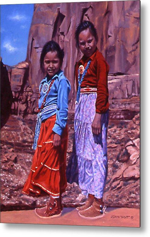 Navajo Indian Southwestern Monument Valley Metal Print featuring the painting Simple Pleasures by John Watt