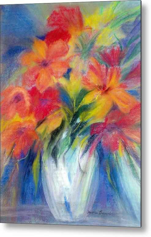 Flowers Metal Print featuring the painting White Vase by Maritza Bermudez
