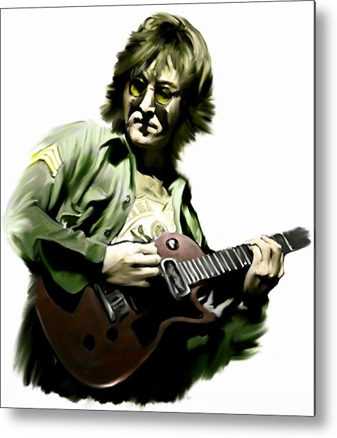 John Lennon Metal Print featuring the painting Instant Karma John Lennon by Iconic Images Art Gallery David Pucciarelli