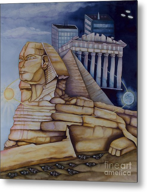 Sphinx Metal Print featuring the painting The Silent Witness Of Civilizations Past And Those Yet To Be Born by Rebecca Barham
