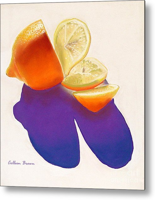 Still Life Metal Print featuring the painting Lemon Slice by Colleen Brown