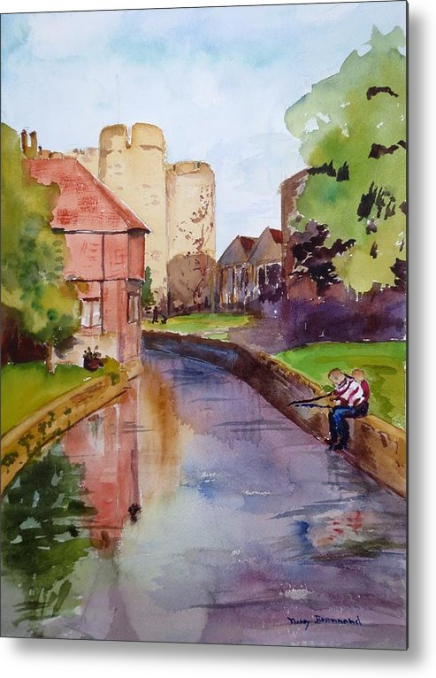 Landscape Metal Print featuring the painting On The Stour River -canterbury by Nancy Brennand