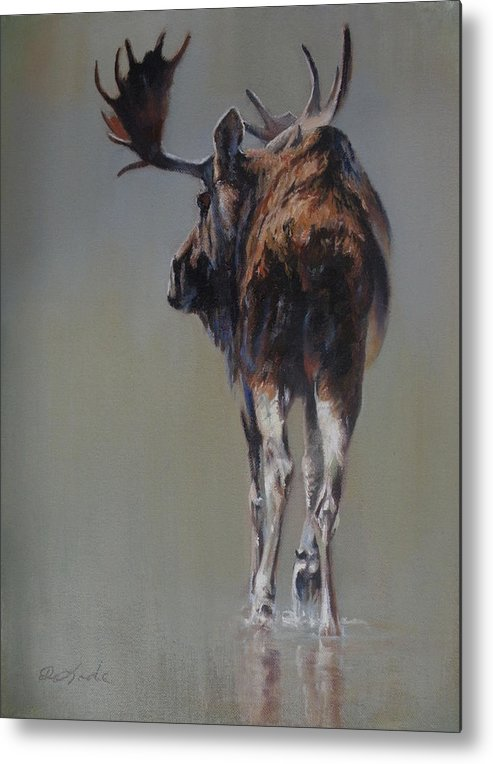 Moose Metal Print featuring the painting The Bachelor by Mia DeLode