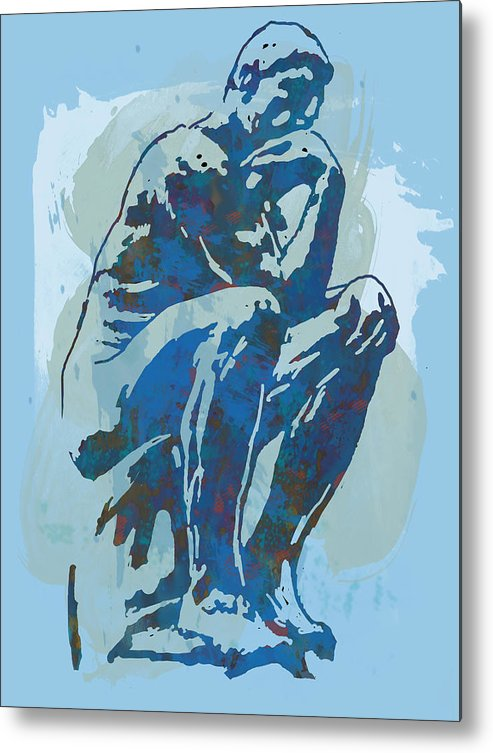 The Thinker Is A Bronze Sculpture By Auguste Rodin Metal Print featuring the drawing The Thinker - Rodin Stylized Pop Art Poster by Kim Wang