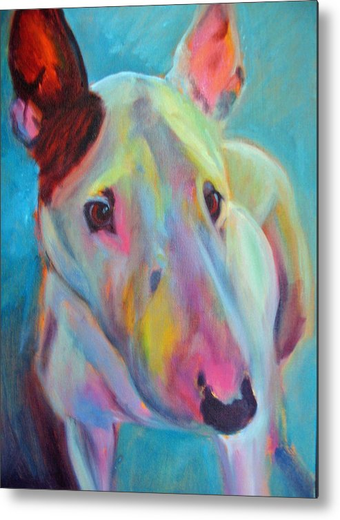 English Bull Terrier Portrait Metal Print featuring the painting Clem by Kaytee Esser