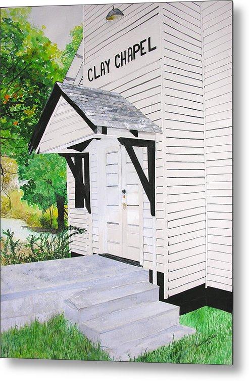 Church Metal Print featuring the painting Clay Chapel by Anna Dubon