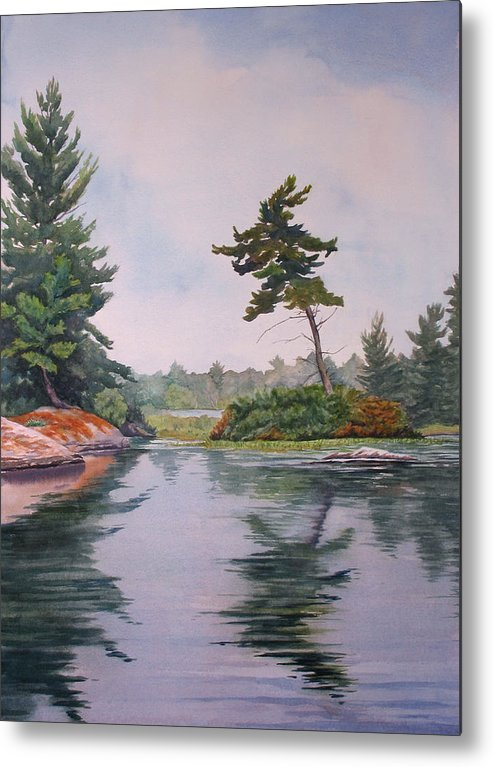 Lake Metal Print featuring the painting Lake Reflection by Debbie Homewood