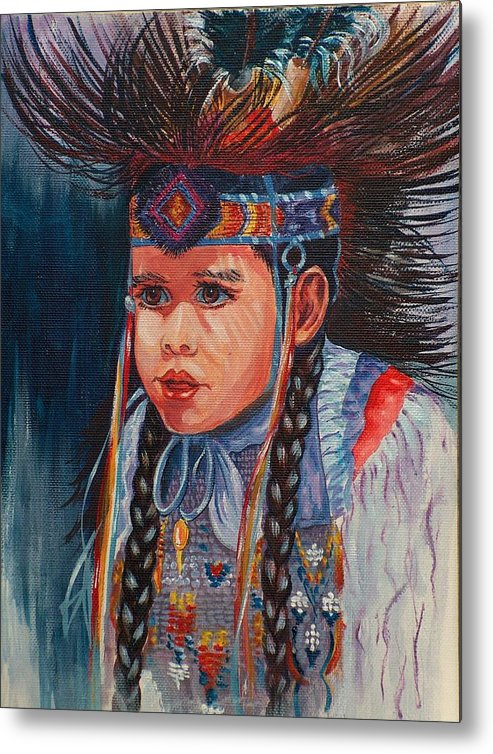 Native American Metal Print featuring the painting Native American Dance by Sylvia Stone