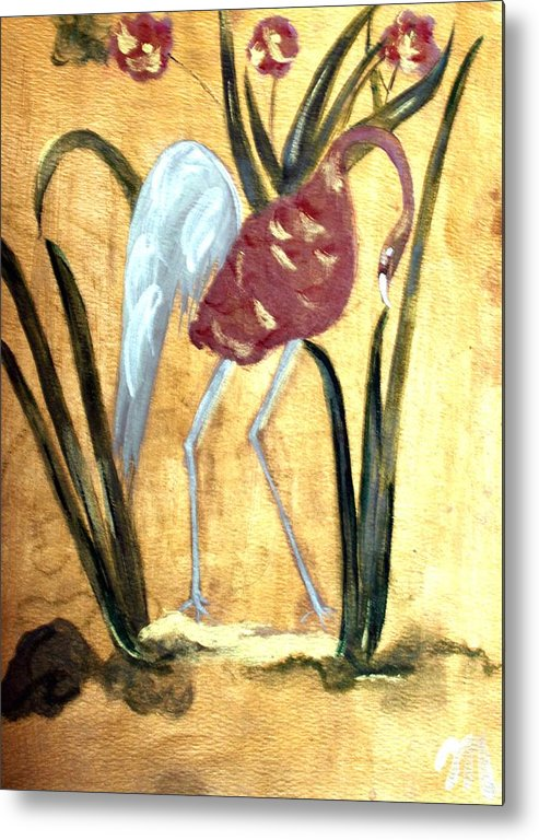 Wildlife Metal Print featuring the painting Oriental Crane by Michela Akers