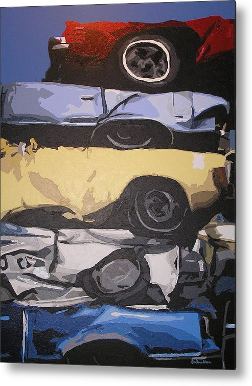 Cars Metal Print featuring the painting Reunited by Ricklene Wren