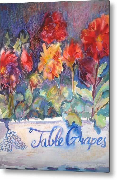 Flowers Metal Print featuring the painting Table Grapes by Joyce Kanyuk