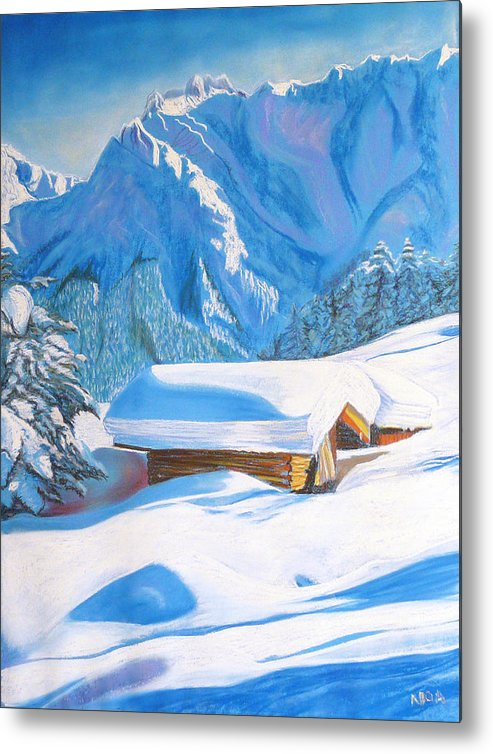 Snow Metal Print featuring the pastel The Alpine Hut by Aymeric NOA