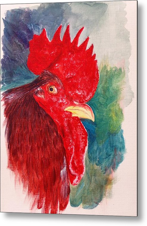 Rooster Metal Print featuring the painting The Rooster Rules by Sylvia Stone