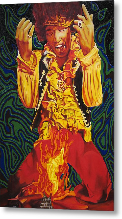 Jimi Hendrix Metal Print featuring the painting Jimi Hendrix Fire by Joshua Morton