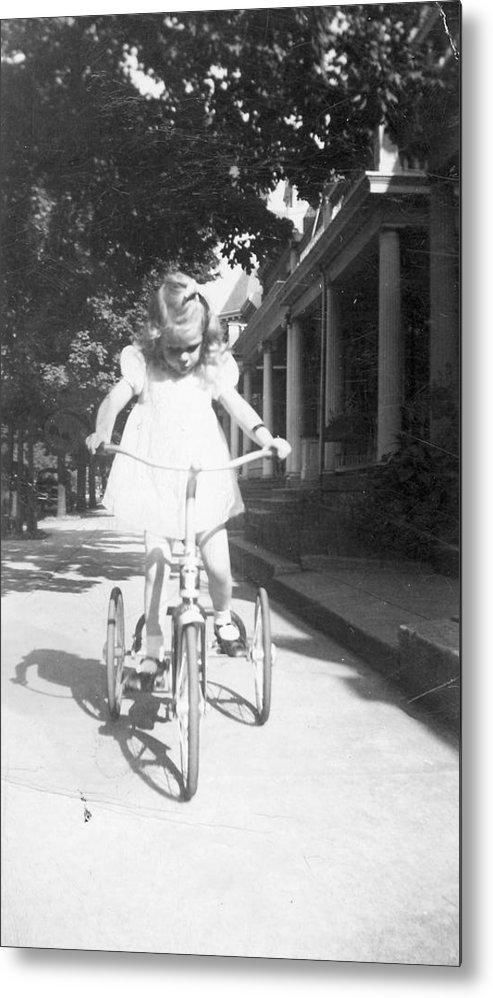 Bike Metal Print featuring the photograph Little Girl On Vintage Bike by Cheryl Viar