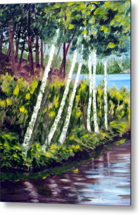 Landscape Metal Print featuring the print Lakeside Birches by Anne Trotter Hodge