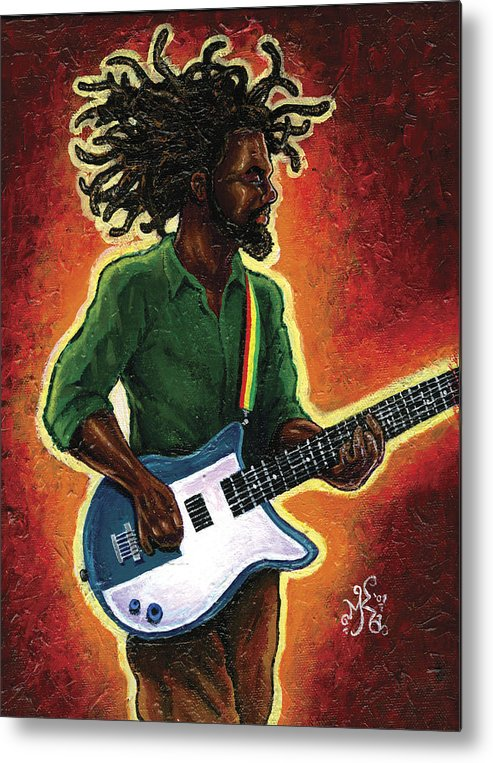 Guitar Metal Print featuring the painting Electric by Marcus Anderson