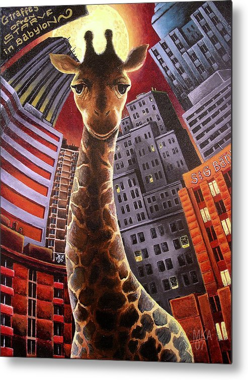 Giraffe City Babylon Surreal Metal Print featuring the painting Giraffes Often Starve In Babylon by Marcus Anderson