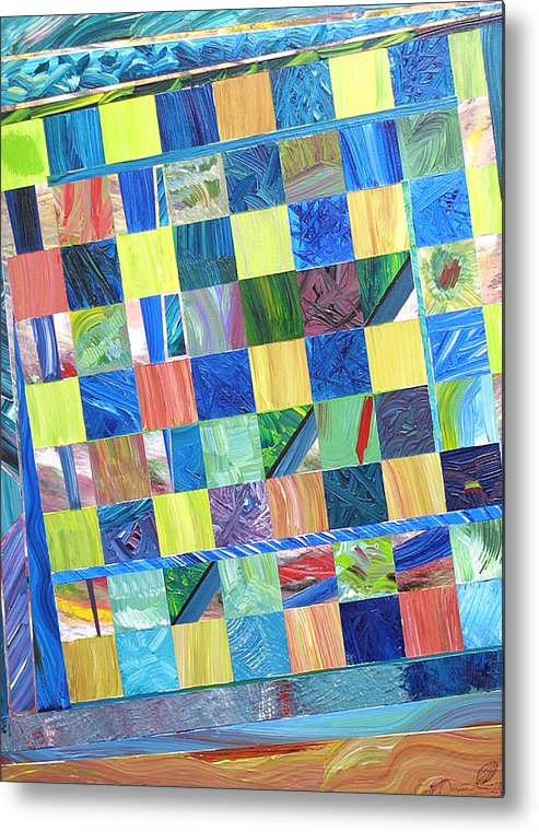Chess Board Metal Print featuring the painting Stained Glass Sanctuary by Eric Devan