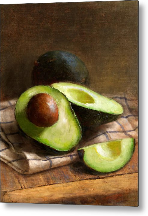 Avocado Metal Print featuring the painting Avocados by Robert Papp