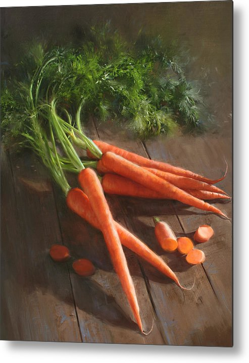 As Seen In Cooks Illustrated Magazine Metal Print featuring the painting Carrots by Robert Papp