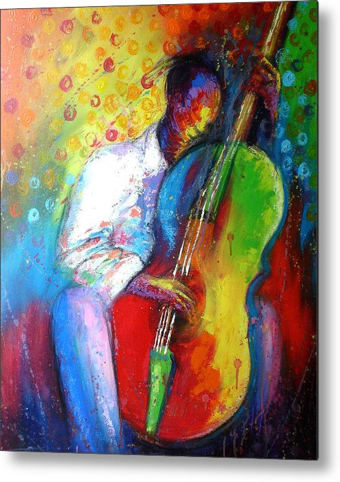Tunde Metal Print featuring the painting Chilln by Tunde Afolayan-Famous