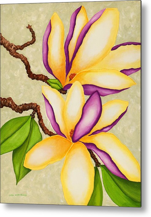 Two Magnolias Metal Print featuring the painting Magnolias by Carol Sabo