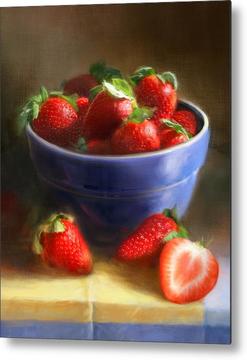 Strawberry Metal Print featuring the painting Strawberries on Yellow and Blue by Robert Papp