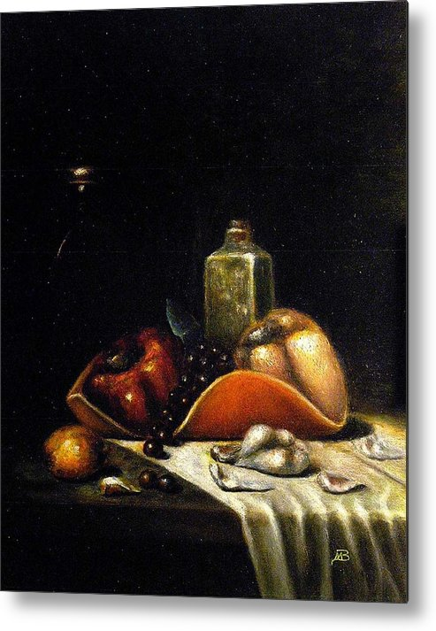 Still Life Metal Print featuring the painting Bell Peppers on the Orange Tray by MM Zurahov