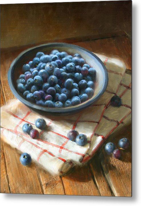 Blueberries Metal Print featuring the painting Blueberries by Robert Papp