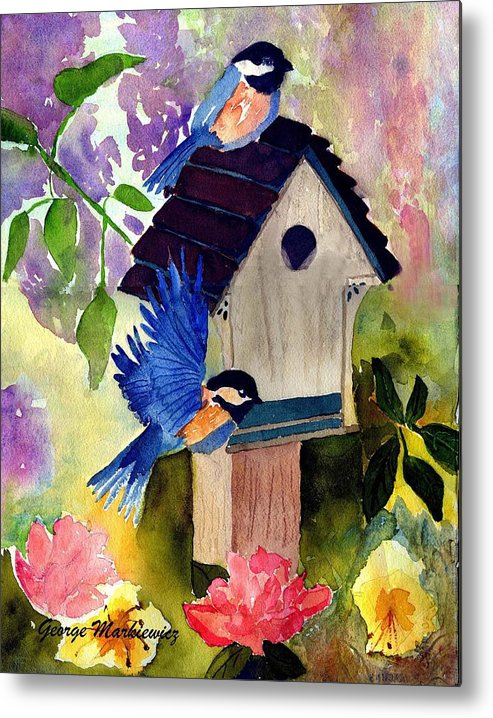 Bluebirds In Springtime Metal Print featuring the print Bluebirds nesting by George Markiewicz