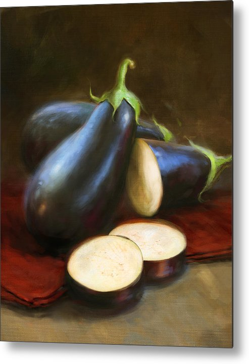 Vegetables Metal Print featuring the painting Eggplants by Robert Papp