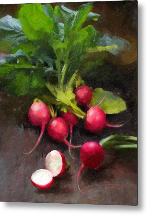 Radishes Metal Print featuring the painting Fresh Radishes by Robert Papp