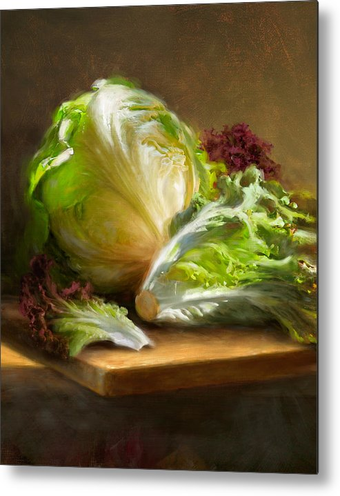 Lettuce Metal Print featuring the painting Lettuce by Robert Papp