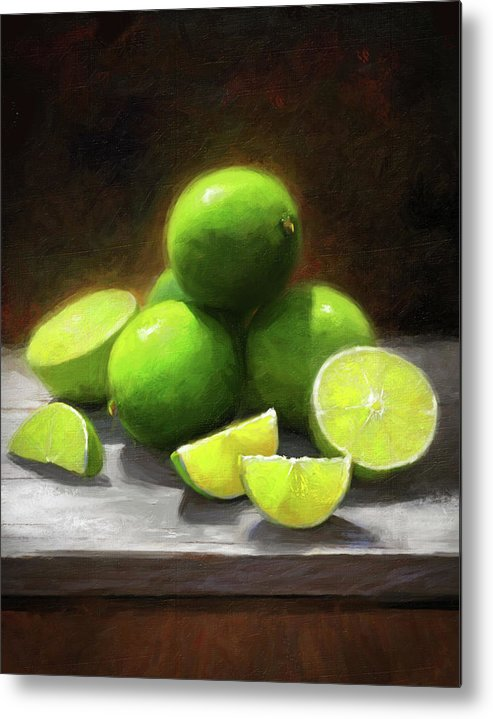 Limes Metal Print featuring the painting Limes In Sunlight by Robert Papp