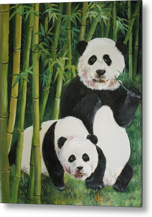 Nature Metal Print featuring the painting Mother And Child 2 by Lian Zhen