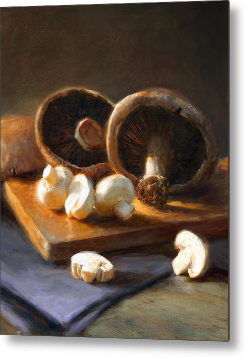 Mushrooms Metal Print featuring the painting Mushrooms by Robert Papp