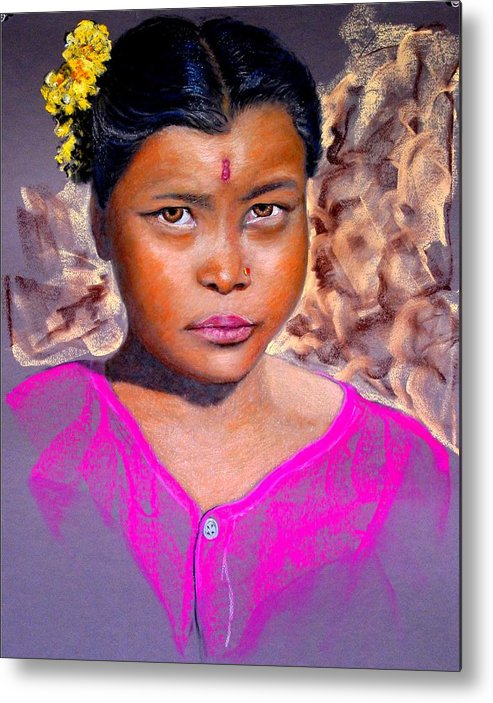 Nepal Metal Print featuring the painting Nepalese Girl by David Horning