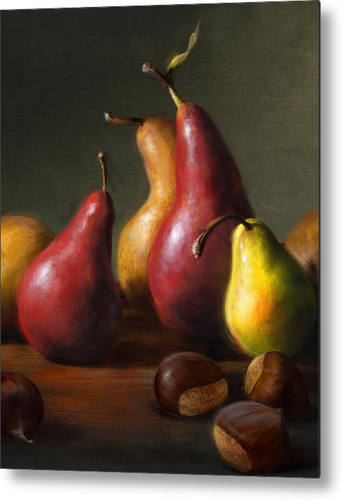 Pears Metal Print featuring the painting Pears with Chestnuts by Robert Papp