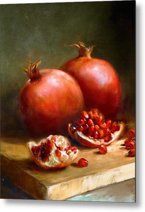 Pomegranates Metal Print featuring the painting Pomegranates by Robert Papp