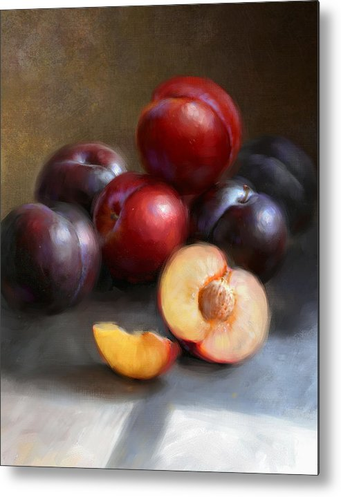 Plums Metal Print featuring the painting Red and Black Plums by Robert Papp