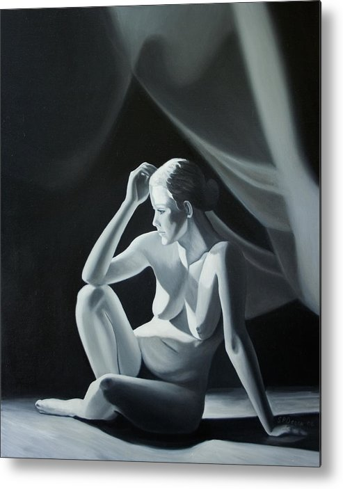 Figure Metal Print featuring the painting Reflection in Gray by Stephen Degan
