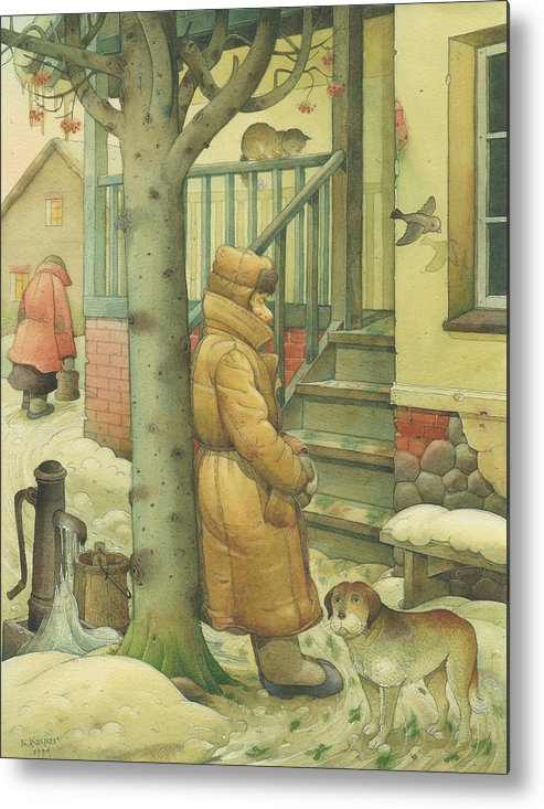 Russian Winter Metal Print featuring the painting Russian Scene 10 by Kestutis Kasparavicius