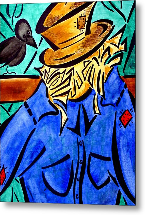 Scarecrow Metal Print featuring the painting ScareCrow by Meilena Hauslendale