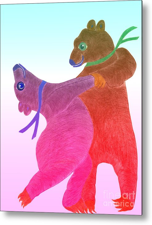 Bears Metal Print featuring the painting Tango Bears by Tess M J Iroldi