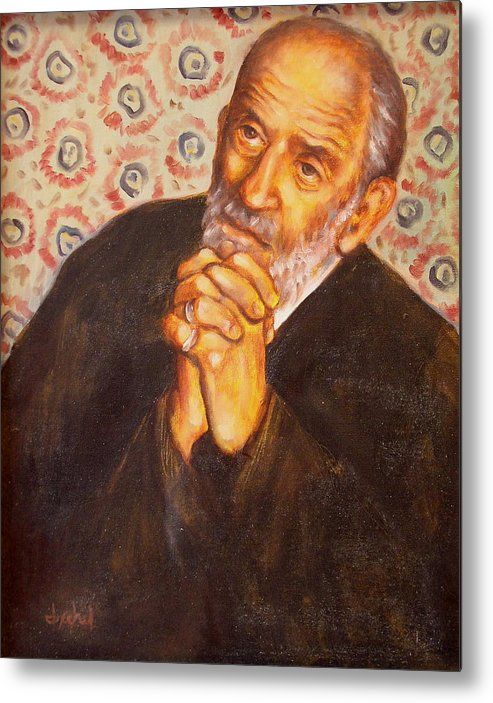 Philosopher Metal Print featuring the painting The philosopher by Ixchel Amor